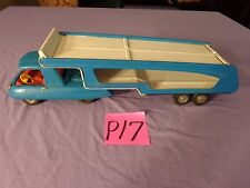 Vintage Tin Marx Truck Trailer Ramp Car Hauler Made in Japan,blue and white