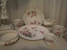 ~7 PC MIX MATCH ANTIQUE CHINA ROSES FLORAL PLATE BOWL CUPS SHABBY COTTAGE CHIC