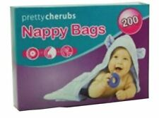 200 Fragranced Baby Nappy Bags Disposable, Hygienic, perfumed, Tie Handles