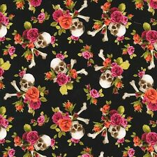 Michael Miller Charm Skull, Skulls Out Fabric in Coral, floral, black, By the FQ