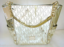 NEW-MICHAEL KORS DELANCY METALLIC PALE GOLD LEATHER TOTE SHOULDER,HAND BAG,PURSE