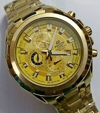 IMPORTED CASIO EDIFICE MEN's WRIST WATCH EF-539D-7A5VDF Full Golden + Box