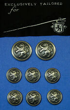 HOLLAND & SHERRY Hand Made in England Dark Silver RAMPANT LION BUTTONS Good cond