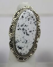 Navajo Indian Ring White Buffalo Turquoise Size 7-1/2 Sterling Silver Robert Sha