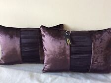 pkt 2 designer romo zinc lens collection silk pleated /velvet diva plum cushions