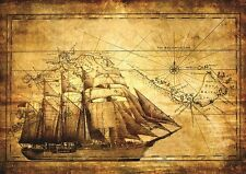 ANCIENT EXPLORER MAP VINTAGE Photo Wallpaper Wall Mural SHIP 335x236cm