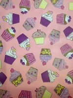 Cupcakes Pink Design Oil Cloth Wipe Clean Pvc Fabric By 1/2 Metre -24