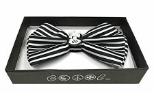 Halloween Men's Accessories White Skull with Black Stripe Adjustable Bow Tie