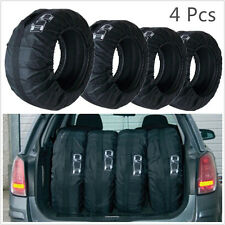 "4 X Black Nylon 13""-19"" Vehicles Seasonal Tire Storage Bags Protector Covers Kit"