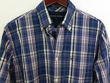 AA81 Men Tommy Hilfiger Blue Check Cotton Casual Shirt Size M