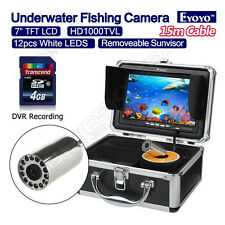 "15m 7"" Color LCD Underwater Fishing Camera Fish Finder DVR Record+Free Sunvisor"