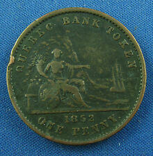 1852 one penny  deux sous quebec bank token  very nice grade