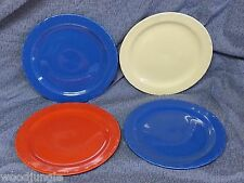4 RARE CORONADO POTTERY CALIFORNIA   ART DECO PLATES RED BLUE YELLOW MID CENTURY