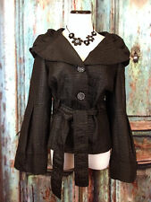 Spanner 10 Black Coat Jacket Button Ties Goth Funeral Bell Sleeves Steampunk B17