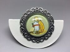 Winnie Pooh and Christopher Robin Brooch Badge Lapel Pin Antique Silver 35mm
