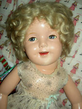 "Ideal 1930 sgnd 27"" compo. FLIRTY Shirley Temple doll, tagged ""CURLY TOP"" dress"