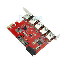 5 Port  PCI-E PCI Express to USB3.0 + 20pin HUB 5Gbps Card Adapter for WIN 7 8