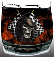Racing skull checkered flag flame fire Hood Wrap Sticker Vinyl Decal Graphic