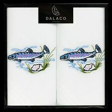 Trout / Salmon  hankerchiefs on white 100% cotton LARGE  hanky  fishing  gift