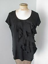 NWT $40 New York & Co NY&C Black Silky Tunic Top Blouse Tiered Diagonal Ruffle M