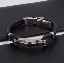 "Unisex Men Stainless Steel Rubber Silicone Bangle Bracelet Black Silve 8"" G6"