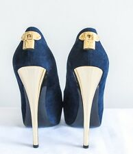 "Women Louis Vuitton ""Oh Really Peep"" Navy Suede Gold Lock Logo Pumps Size 39"