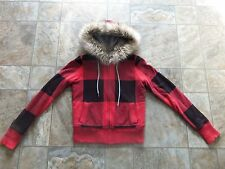 Women's American Eagle Faux fur hood zip-up thick hoodie size extra small EUC!