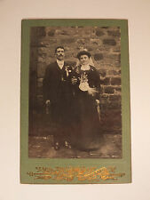 ANCIENNE PHOTO GRAND FORMAT PORTRAIT SOUVENIR D'UN COUPLE DE MARIES