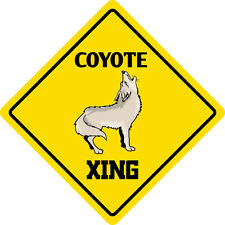 "*Aluminum* Coyote Crossing Funny Metal Novelty Sign 12""x12"""