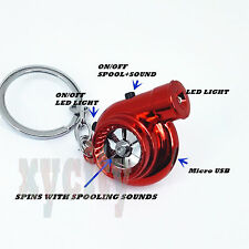 Red CHROME Rechargeable turbo keyring keychain with LED light and BOV sound