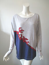 LOVE MOSCHINO Gray Blue Black Beads Long Sleeve Jersey Top Blouse 44/ US 8