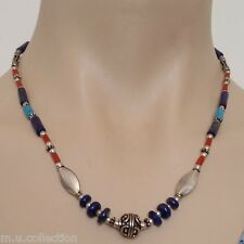 NL-136 Antique Style Handmade Tibetan Ethnic Lapis Coral & White Metal Necklace