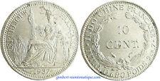 INDOCHINE  ,  10  CENT    ARGENT  1937  A  PARIS  ,  SUPERBE 11