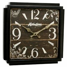 New Hometime Square Wooden Wall Clock - Abilene Wall Clock RRP £25.99 OFFER