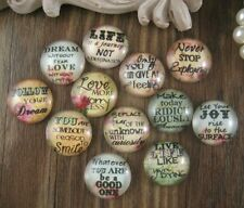 12x Glass Mix Inspiration Quotes Cameo Cabochon 20mm - Group A