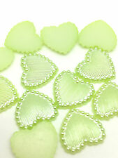 NEW Hot 50PCS Charm resin Stripe DIY heart Scrapbook Craft 15MM Flatback Green&