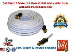 15 Meter White HDMI Lead 2.0 3D 4K /2160P Professional Cable Gold Contacts