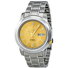 Seiko 5 Automatic Stainless Steel Gold Dial Mens Watch SNKK13
