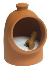 Country Kitchen Terracotta Earthenware Salt Pig with Beech Scoop