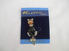Cat Brooch Amber Colour Glass Stone Head, Black Cut Stone Body, Crystal Stones