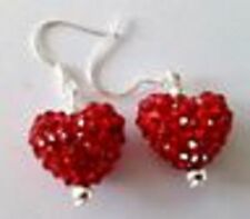 SPARKLY SHAMBALLA  RED  HEART DROP EARRINGS WITH 14mm  CZECH CRYSTAL DISCO BEAD