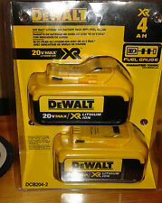 DEWALT XR Lithium-Ion 20V Max Batteries 4aH - 2-Pack