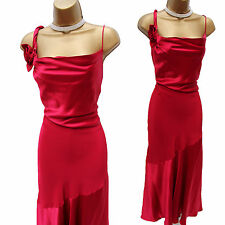 Precise petite rose fuchsia soft satin longue cocktail party dress 14 uk