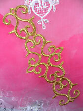 GB296 Gold Metallic Embroidered Applique Iron On Patch 7.5""