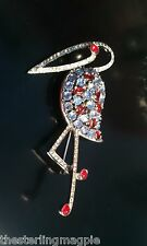 Vintage Sterling Silver Reja Flamingo Rhinestone Bird Pin Brooch Large 3.15 Inch