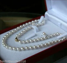 """8MM White Akoya Shell Pearl Necklace + Earring Set AAA 18"""""""