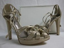 BCBG Max Azria Size 10 M Elise Champagne Satin Open Toe Heels New Womens Shoes