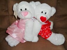 Valentine Bear Boy Girl Couple White Stuffed Plush Red Pink outfits Silky Soft