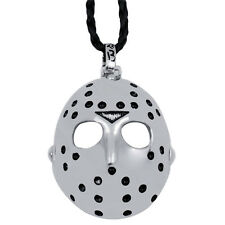 "Men Friday the 13th Jason's Mask Horror Pewter Pendant w/ 20"" Choker Neckcklace"