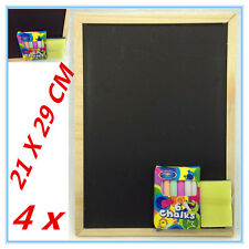 4 SETS BLACK CHALKBOARD WITH COLOUR COLOR CHALKS AND DUSTER KIDS CRAFT SIGN AP